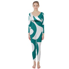 Hindu Om Symbol (teal) Long Sleeve Catsuit by abbeyz71