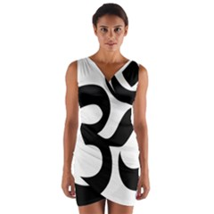 Hindu Om Symbol  Wrap Front Bodycon Dress