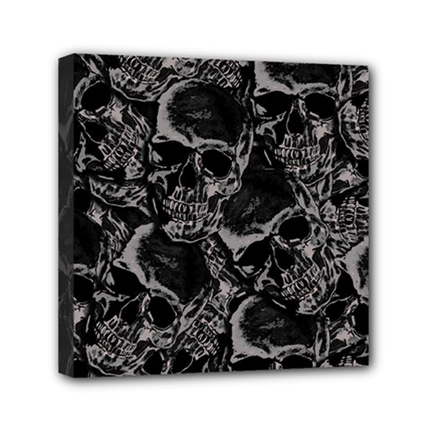Skulls Pattern Mini Canvas 6  X 6  by ValentinaDesign