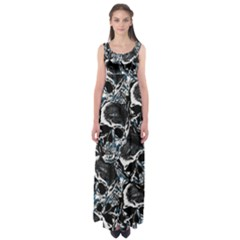 Skulls Pattern Empire Waist Maxi Dress by ValentinaDesign