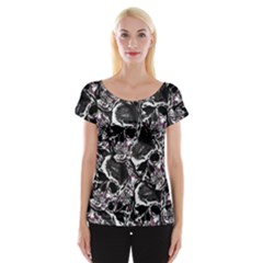 Skulls Pattern Women s Cap Sleeve Top by ValentinaDesign