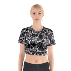 Skulls Pattern Cotton Crop Top