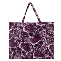 Skull Pattern Zipper Large Tote Bag by ValentinaDesign
