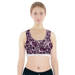 Skull Pattern Sports Bra With Pocket by ValentinaDesign