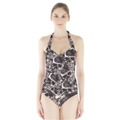 Skull Pattern Halter Swimsuit by ValentinaDesign
