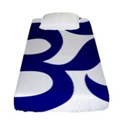 Om Symbol (navy Blue) Fitted Sheet (single Size) by abbeyz71