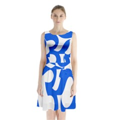 Hindu Om Symbol (blue) Sleeveless Waist Tie Chiffon Dress by abbeyz71