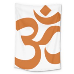 Hindu Om Symbol (chocolate Brown) Large Tapestry by abbeyz71