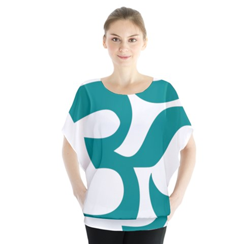 Hindu Om Symbol (dark Cyan) Blouse by abbeyz71