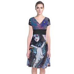 cosmic Cosmo    Short Sleeve Front Wrap Dress by livingbrushlifestyle