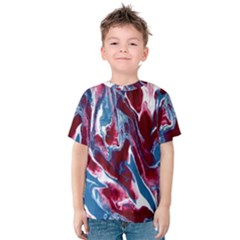 Blue Red White Marble Pattern Kids  Cotton Tee by Costasonlineshop