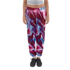 Blue Red White Marble Pattern Women s Jogger Sweatpants by Costasonlineshop