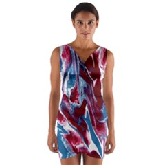 Blue Red White Marble Pattern Wrap Front Bodycon Dress