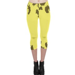 Banner Polkadot Yellow Grey Spot Capri Leggings  by Mariart