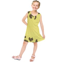 Banner Polkadot Yellow Grey Spot Kids  Tunic Dress by Mariart