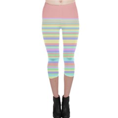 All Ratios Color Rainbow Pink Yellow Blue Green Capri Leggings  by Mariart