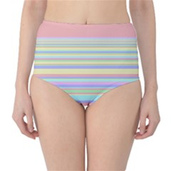 All Ratios Color Rainbow Pink Yellow Blue Green High-waist Bikini Bottoms by Mariart