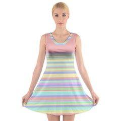All Ratios Color Rainbow Pink Yellow Blue Green V Neck Sleeveless Skater Dress by Mariart