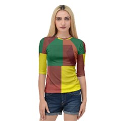 Albers Out Plaid Green Pink Yellow Red Line Quarter Sleeve Tee by Mariart