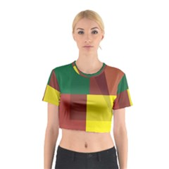 Albers Out Plaid Green Pink Yellow Red Line Cotton Crop Top by Mariart