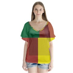 Albers Out Plaid Green Pink Yellow Red Line Flutter Sleeve Top