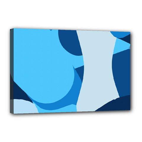 Blue Polka Canvas 18  X 12  by Mariart