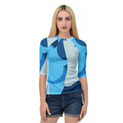 Blue Polka Quarter Sleeve Tee by Mariart