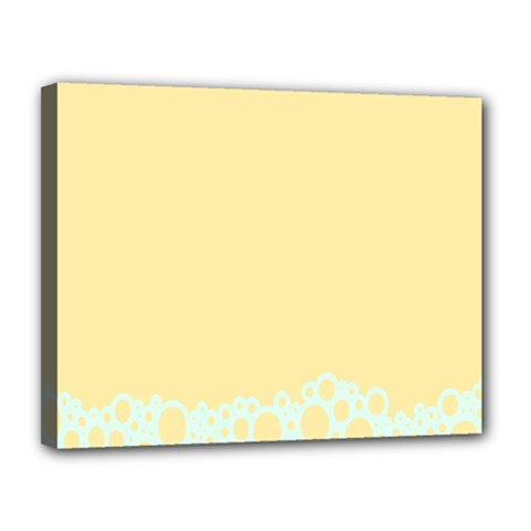 Bubbles Yellow Blue White Polka Canvas 14  X 11  by Mariart