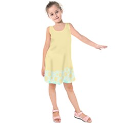 Bubbles Yellow Blue White Polka Kids  Sleeveless Dress by Mariart