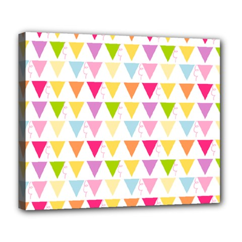 Bunting Triangle Color Rainbow Deluxe Canvas 24  X 20   by Mariart