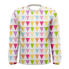 Bunting Triangle Color Rainbow Men s Long Sleeve Tee