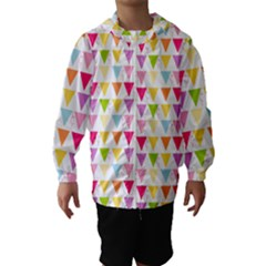 Bunting Triangle Color Rainbow Hooded Wind Breaker (kids) by Mariart