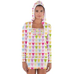 Bunting Triangle Color Rainbow Women s Long Sleeve Hooded T Shirt by Mariart