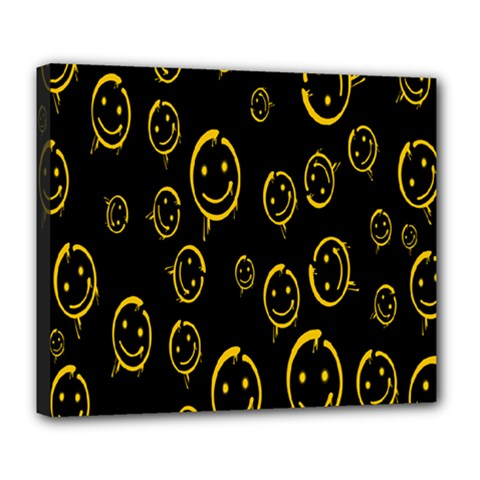 Face Smile Bored Mask Yellow Black Deluxe Canvas 24  X 20   by Mariart