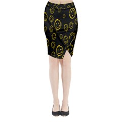 Face Smile Bored Mask Yellow Black Midi Wrap Pencil Skirt by Mariart