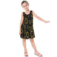Face Smile Bored Mask Yellow Black Kids  Sleeveless Dress by Mariart