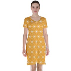 Yellow Stars Iso Line White Short Sleeve Nightdress by Mariart