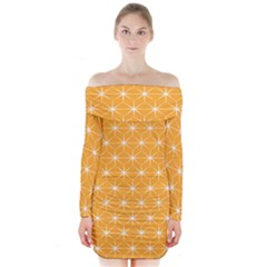 Yellow Stars Iso Line White Long Sleeve Off Shoulder Dress by Mariart