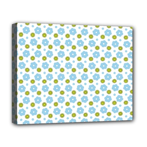 Blue Yellow Star Sunflower Flower Floral Deluxe Canvas 20  X 16   by Mariart