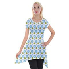 Blue Yellow Star Sunflower Flower Floral Short Sleeve Side Drop Tunic by Mariart