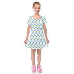 Blue Yellow Star Sunflower Flower Floral Kids  Short Sleeve Velvet Dress by Mariart
