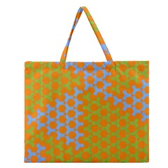 Green Blue Orange Zipper Large Tote Bag by Mariart