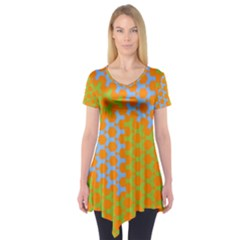 Green Blue Orange Short Sleeve Tunic