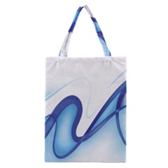 Glittering Abstract Lines Blue Wave Chefron Classic Tote Bag