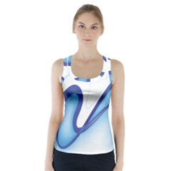 Glittering Abstract Lines Blue Wave Chefron Racer Back Sports Top by Mariart