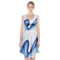 Glittering Abstract Lines Blue Wave Chefron Racerback Midi Dress by Mariart