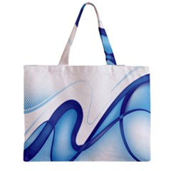 Glittering Abstract Lines Blue Wave Chefron Medium Tote Bag by Mariart