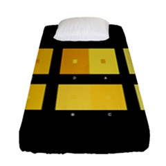 Horizontal Color Scheme Plaid Black Yellow Fitted Sheet (single Size) by Mariart