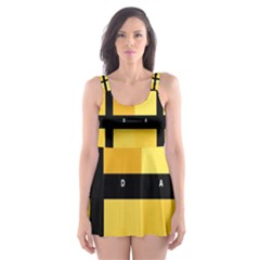 Horizontal Color Scheme Plaid Black Yellow Skater Dress Swimsuit by Mariart