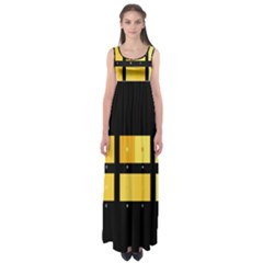 Horizontal Color Scheme Plaid Black Yellow Empire Waist Maxi Dress by Mariart